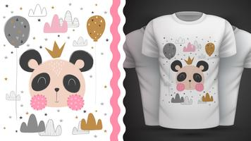 Gullig panda - idé för tryckt-shirt