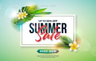 Sommerschlussverkauf-Design mit Blume und exotischen Palmblättern auf grünem Hintergrund. Tropische Vektor-Sonderangebot-Illustration mit Typografie-Buchstaben für Kupon oder Beleg