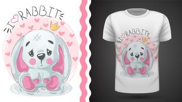Lyckligare påsk, kanin - idé för print-t-shirt