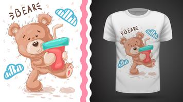 Gullig nallebjörn - idé för tryckt t-shirt