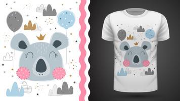 Gullig coala - för tryckt t-shirt