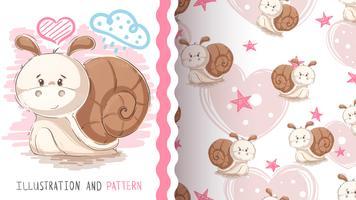 Söt teddy snail - sömlöst mönster vektor