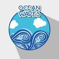 havsvågor med lanscape moln design