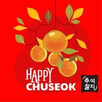 Happy Chuseok Day oder Mid Autumn Festival. Koreanischer Feiertag. Mandarine oder Clementine Illustration. Koreanisch übersetzen Happy Chuseok