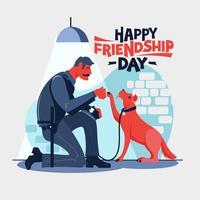 Froher Freundschafts Tag. Der Polizist setzt sich mit seiner Partnerhundepolizei zusammen