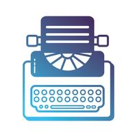 siluett retro skrivmaskin utrustning med affärsdokument vektor