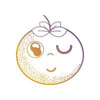 Linie kawaii nette glückliche orange Frucht