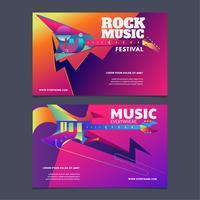 Illustration Musikfestival Affisch eller Banderoll Färgrik Mall