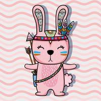 schönes kaninchen stammes mit pfeil und federn vektor