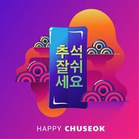 Lycklig Chuseok Day eller Mid Autumn Festival. Koreanska Holiday Harvest Festival Vector Illustration. Ord på koreanska betyder bra tid för Chuseok