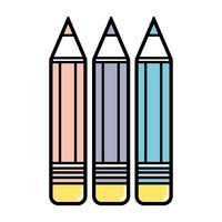 pennor färger skolverktyg objekt design