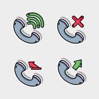 Sätta samtal mobil ikon meddelande vektor