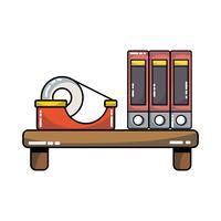 trähylla med böcker och tejp