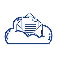 Silhouette Cloud-Daten und Karte mit Dokumentinformationen