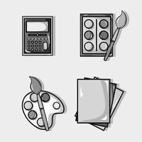 Legen Sie das Design der Schulwerkzeuge fest, um zu lernen und zu lernen vektor