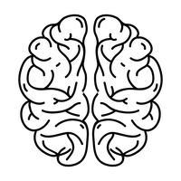 linje mänsklig hjärnanatomi till kreativitet och intellekt vektor