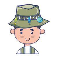Fischer mit Hutdesign und lustigem Sport vektor