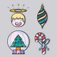 Set Frohe Weihnachten Dekoration Design vektor