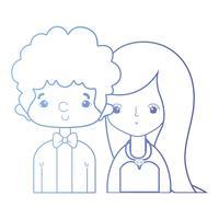 linje skönhet par gift med frisyr design vektor