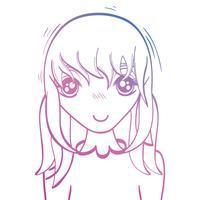 linje skönhet anime tjej med frisyr och blus vektor