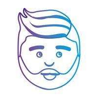 linje avatar man huvud med frisyr vektor