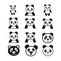 Panda Cartoon Charakter Symbol Dessign vektor
