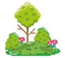 Pixelige Waldlandschaft vektor