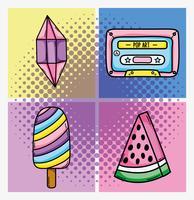 Reihe von Pop-Art-Cartoons vektor