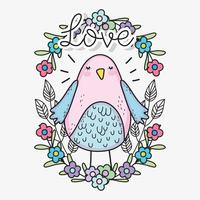 fågel med blommor och löv till valentinsdag