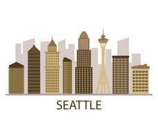 Seattle skyline på en vit bakgrund