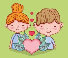 Kinder und Liebeskarikaturen