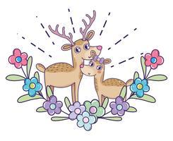 hjortpar med blommor och lämnar till valentinsdag