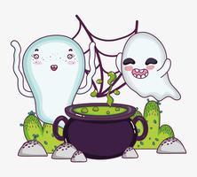 Niedliche Geister-Halloween-Cartoons