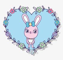 kanin inuti hjärtform med blommor och löv dekoration vektor