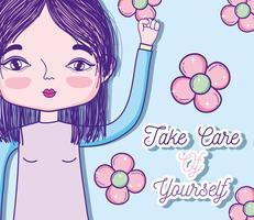 Kümmern Sie sich um Zitat mit Mädchen-Cartoon vektor