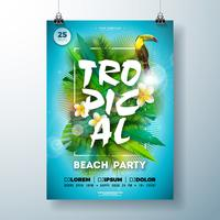 Tropischer Sommer-Strandfest-Flieger-Entwurf mit Blume, Palmblättern und Tukanvogel auf blauem Hintergrund. Vektor-Sommer-Feier-Designschablone mit Naturflorenelementen, tropische Anlagen