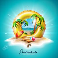 Vektor-Sommerferien-Illustration mit gelbem Floss und exotischen Palmen auf Tropeninsel-Hintergrund. Blume, Wasserball, Sonnenschutz und blaue Ozean-Landschaft