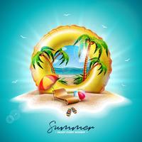Vektor sommarferie illustration med gul float och exotiska palmer på tropisk ö bakgrund. Blomma, strandboll, solskydd och blått havslandskap