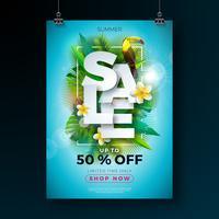 Sommarförsäljning affischdesign mall med blomma, toucan fågel och exotiska löv på blå bakgrund. Tropisk blom vektor illustration med specialtyp typografi för kupong