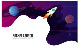 Raketenstart, Schiff Vektor, Illustrationskonzept des Geschäftsprodukts auf einem Markt.