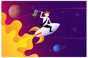 Geschäftsmänner, die eine Flagge sitzt auf einem Raketenschiff fliegen durch den Sternenhimmel halten. Starten Sie das Geschäftskonzept