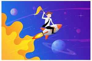 Affärsmän som håller en flagga sitter på ett raketfartyg som flyger genom stjärnhimmel. Starta affärsidén