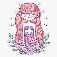 vacker sjöjungfrun kvinna med blommor och löv vektor