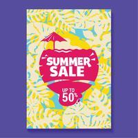 Sommarförsäljning Illustration med popsikel, strand och tropisk löv bakgrund vektor