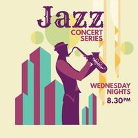 Minimalist Music Jazz Poster mit Saxophonist und Line Art