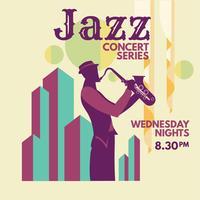 Minimalistisk musikjazzaffisch med saxofonist och linjekonst