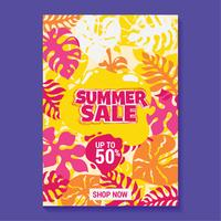 Sommarförsäljning Illustration med strand och tropiska lövbakgrund
