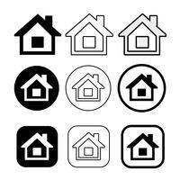 einfaches Haussymbol und Hauptikonenzeichen vektor