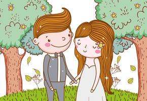 man och kvinna med träd blommor och löv vektor