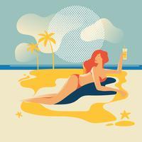 Schöne Frau am Strand bräunen. Sommerferien vektor